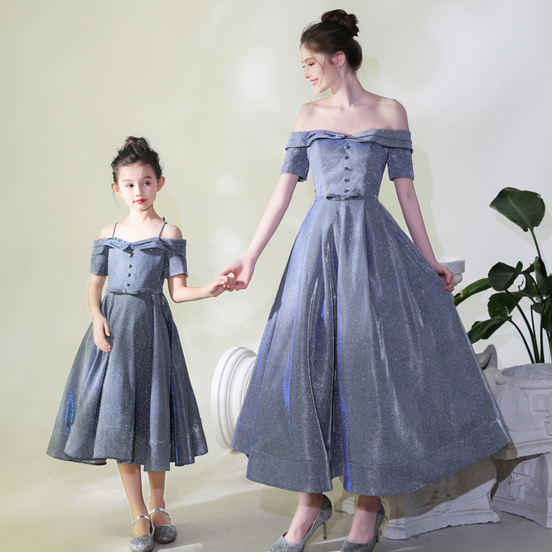 Formal Evening Dress CB173 For Mother And Daughter Shiny Sequin A-Line Robe De Soiree Spaghetti Strap Parent Child Elegant Gowns