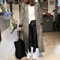 Winter Herbst Elegante Frauen Koreanische Büro Dame Lange Plaid Mantel Lose Übergroßen Warme Wolle-mischungen Mantel Casual OL Graben Mantel