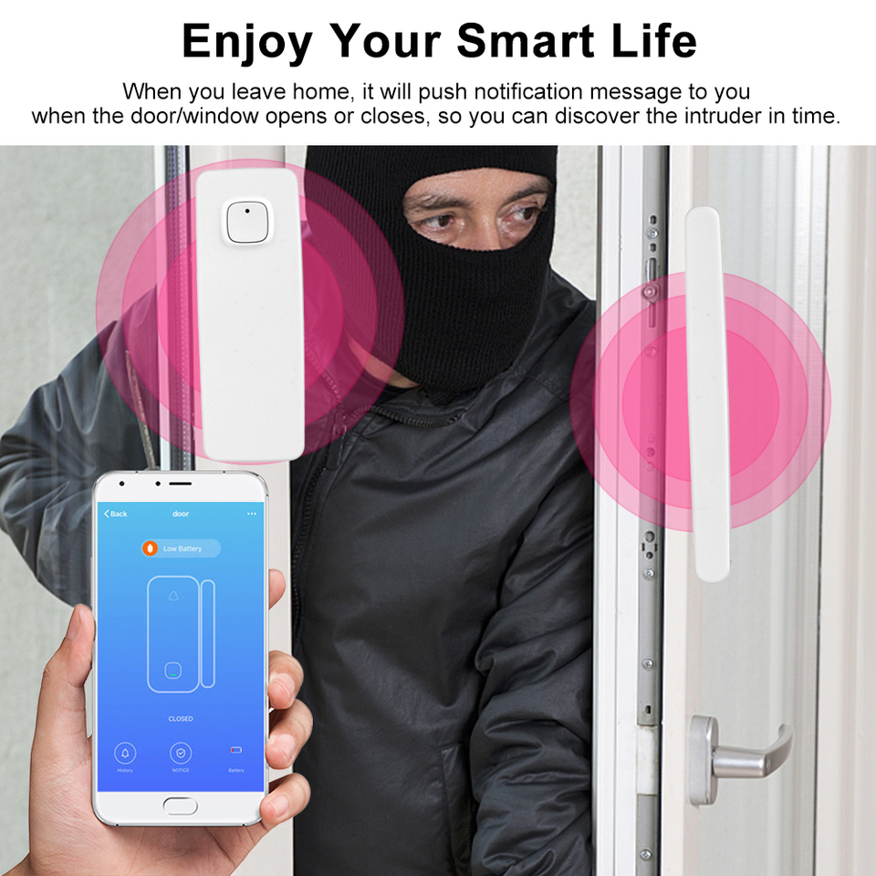 Sensor de seguridad de ventana de puerta inteligente WiFi Detector de seguridad para el hogar con carga USB para Google Assistant Alexa