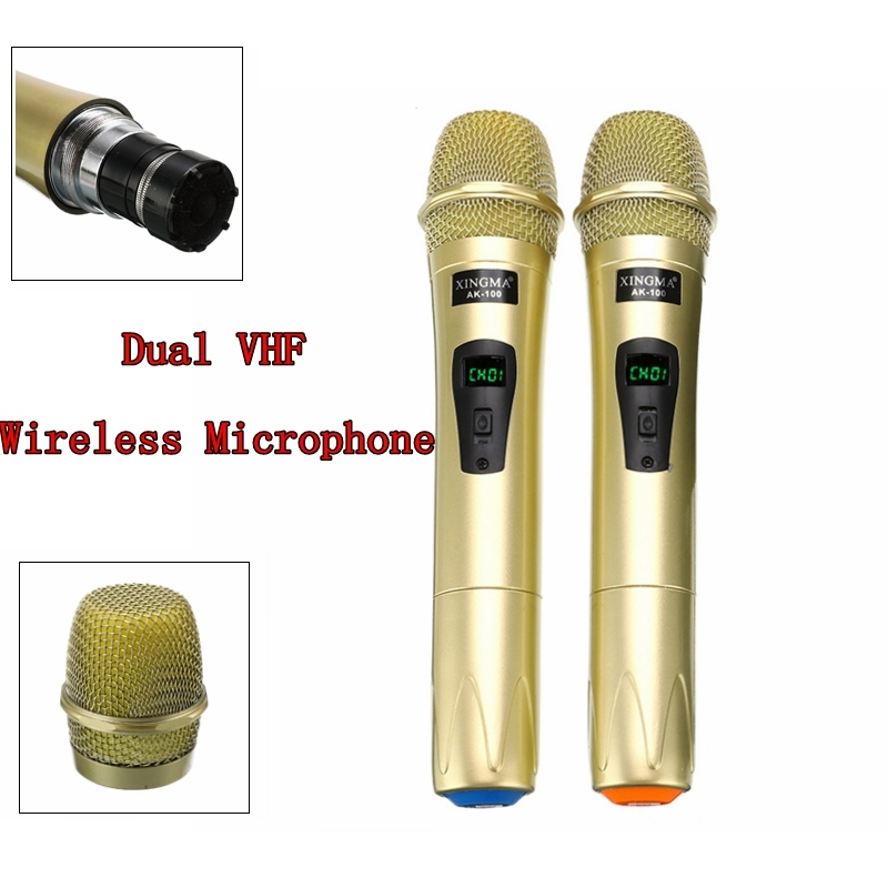 PC-K1 Dual VHF Wireless Microphone Portable Handheld 2 Channels Studio Dynamic Microphone With Receiver For Karaoke System KTV