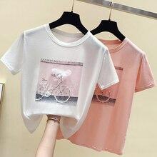 bicycle Diamonds Print 3d Flower Summer Women T Shirt 2019 fashion Kawaii Pink White Clothes basic luxury brand harajuku