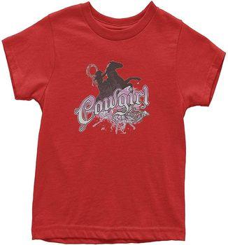 Camiseta de verano divertida y novedosa con gráfico de vaquera montando A caballo juvenil camiseta de Arte Moderno con personalidad