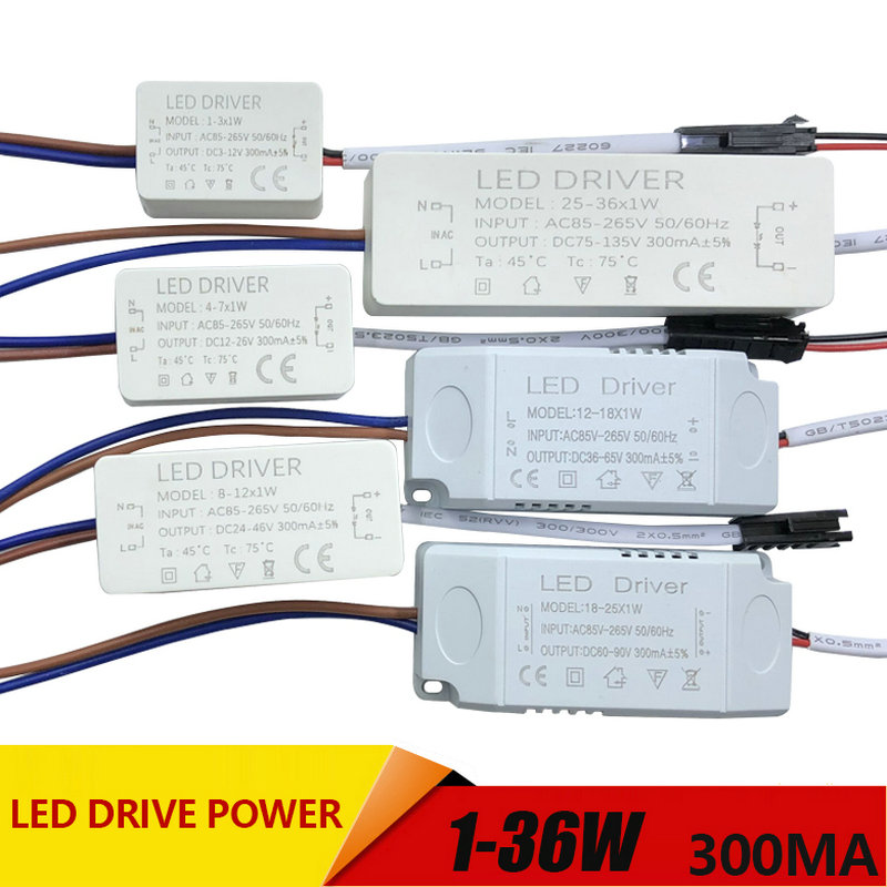 1-3W,4-7W,8-12W,12-18W,18-25W,25-36W LED Driver Power Supply Built-in Constant Current Lighting AC110-265V Output 300mA DC