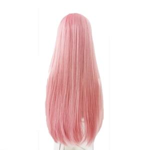 Image 4 - L email peruk uzun pembe Lolita peruk düz kadın saç sevimli Cosplay peruk Harajuku japon cadılar bayramı isıya dayanıklı sentetik saç