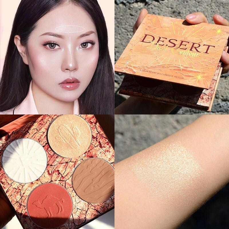 Ellesy marca 4 cores highlighter paleta maquiagem
