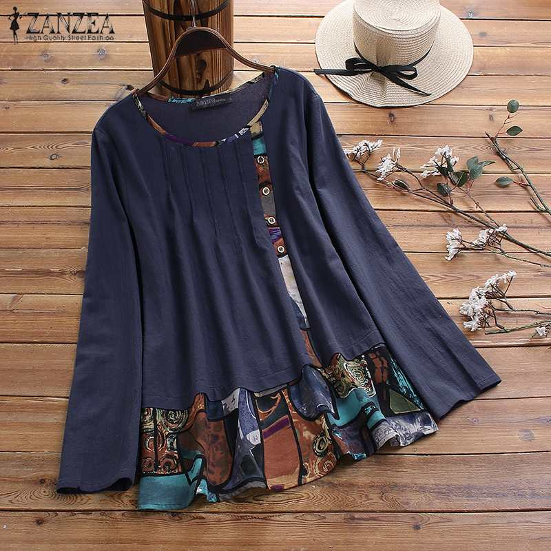 Women's Patchwork Blouse 2020 ZANZEA Vintage Printed Tops Casual Long Sleeve Tee Shirts Female Button Blusas Plus Size Tunic