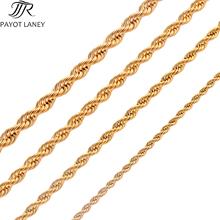 Wysokiej jakości złocenie liny łańcuch ze stali nierdzewnej naszyjnik ze stali dla kobiet mężczyzn złota moda liny łańcucha biżuteria prezent tanie tanio PAYOT LANEY STAINLESS STEEL Mężczyźni Łańcuszki naszyjniki Klasyczny Łańcuch liny Metal PLANT Chain Party Fashion