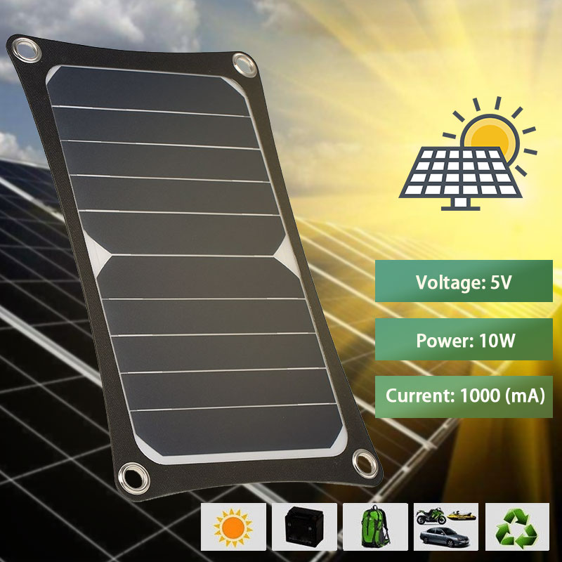 <font><b>Solar</b></font> <font><b>5V</b></font> <font><b>10W</b></font> <font><b>Solar</b></font> <font><b>Panel</b></font> Phone Charger Climbing Outdoor <font><b>Solar</b></font> <font><b>Panels</b></font> Waterproof <font><b>solar</b></font> cells sunpower cell bank USB Output image