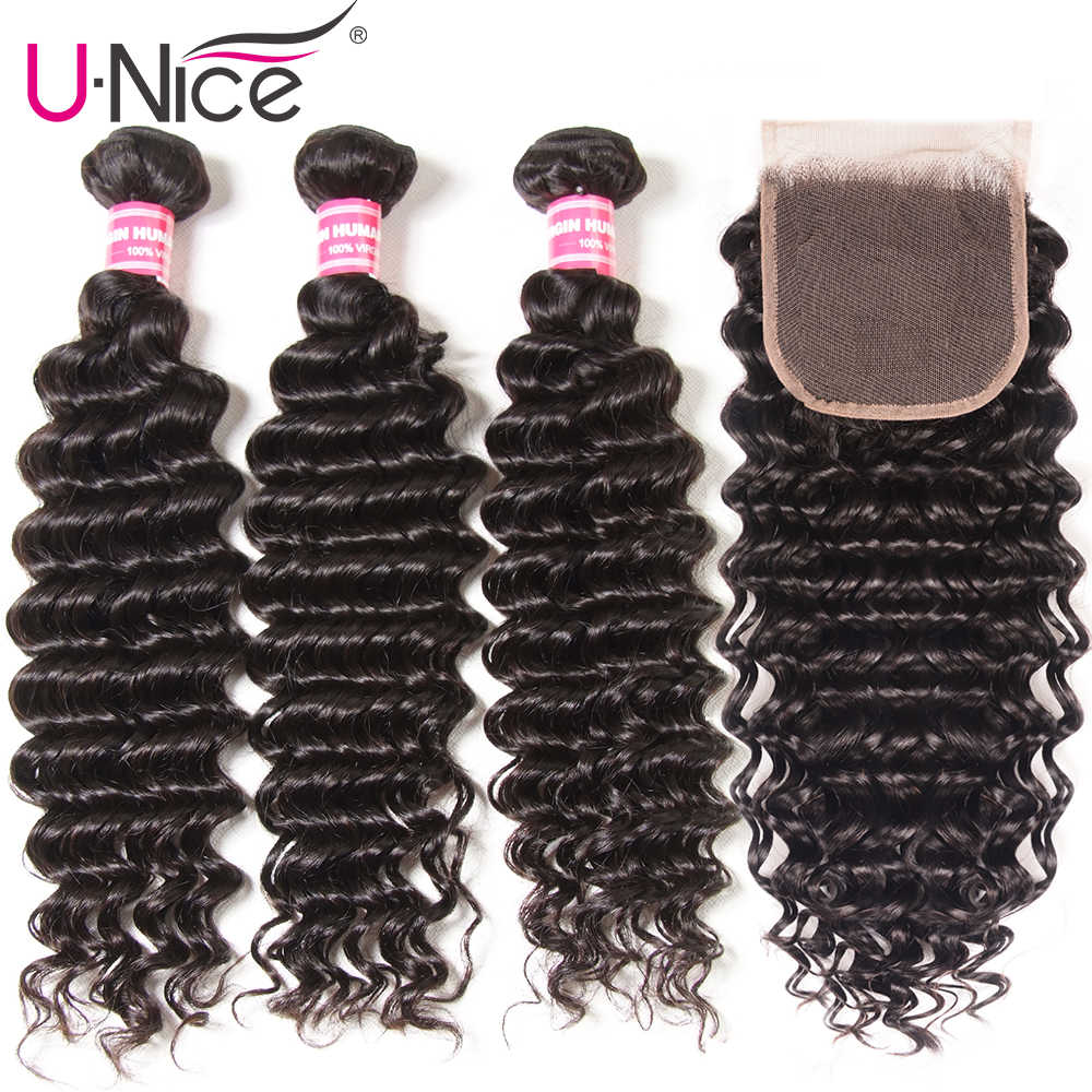 "UNice Hair Icenu Remy Hair Series Peruvian Deep Wave Bundles with Closure 4PCS 10-20 "" Human Hair Bundles With Closure Free Part"