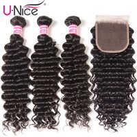 "UNice Hair Peruvian Deep Wave Bundles with Closure 4PCS 10-20 "" Human Hair Bundles With Closure Free Middle Part"