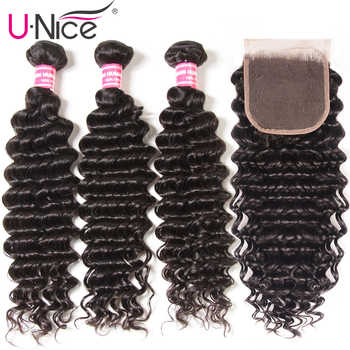 "UNice Hair Peruvian Deep Wave Bundles with Closure 4PCS 10-20 "" Human Hair Bundles With Closure Free Middle Part - Category 🛒 Hair Extensions & Wigs"
