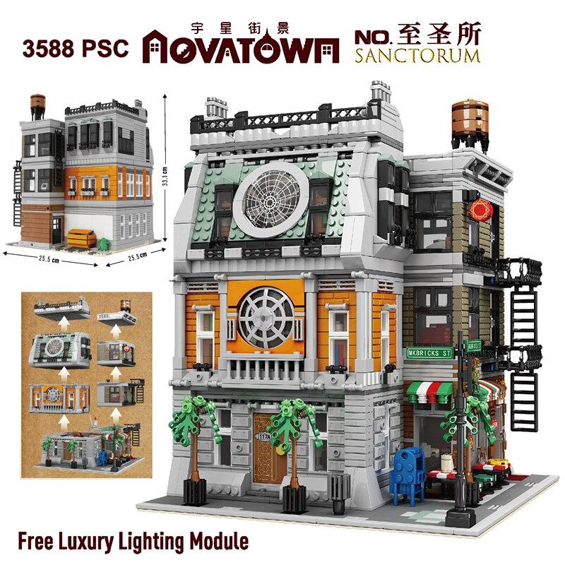 MOC 3588pcs Street Building Toys The Sanctorum with led light Architecture Model Kits Building Blocks Assembly Bricks Kids Gifts
