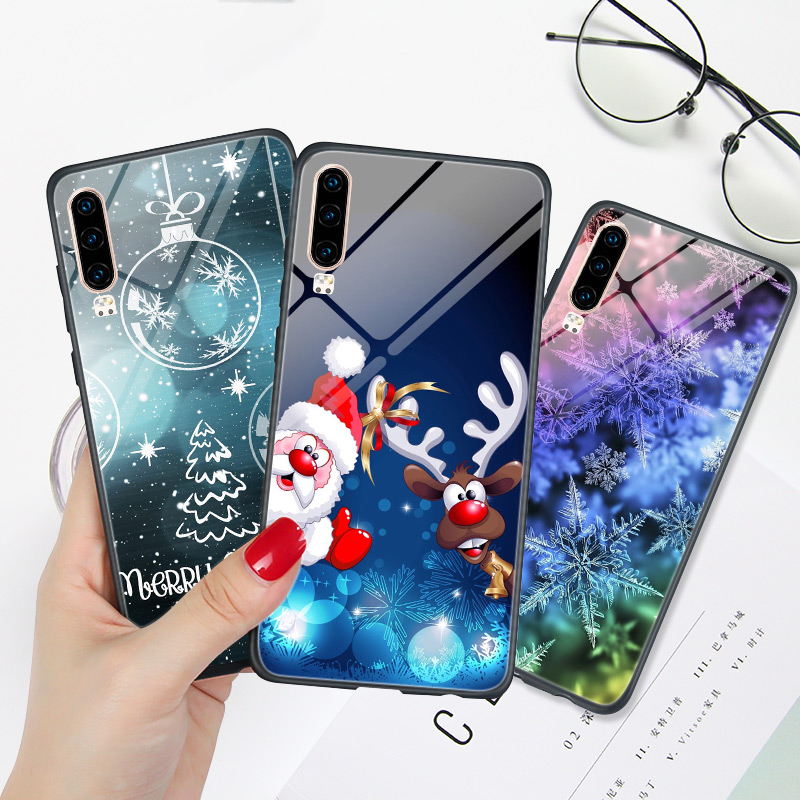 Cute Christmas For <font><b>Huawei</b></font> Y6 Prime <font><b>Case</b></font> For <font><b>Huawei</b></font> Y5 Y6 Y7 2019 <font><b>Y</b></font> <font><b>7</b></font> 6 5 Lite <font><b>2018</b></font> Glossy Snow Phone Back Cover NOVA 2i 3i Coque image