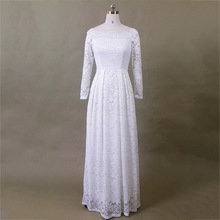 Vintage Dress Embroidery Long-Sleeve White Crochet Party Sexy Casual Women Lace Slash Neck