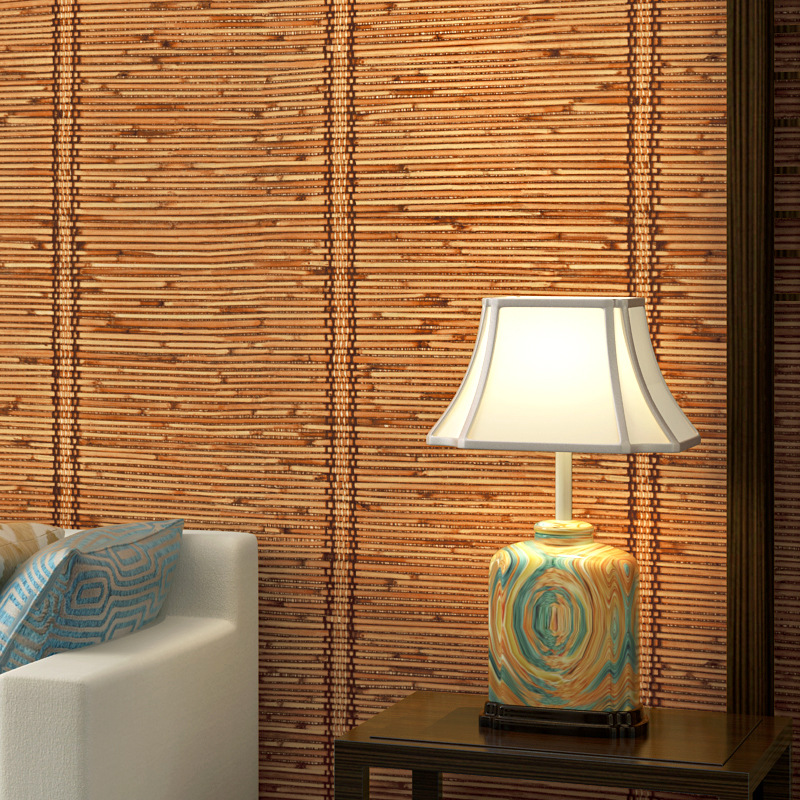 Papel De Parede Chinese Style Embossed Imitation Bamboo Rattan Mats PVC Wallpaper Roll Living Room Retro Backdrop Wall Coverings
