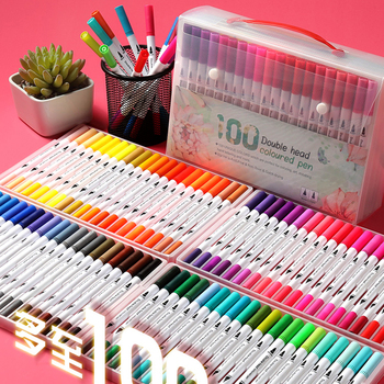 12/48/60/100 Colors FineLiner Art Marker Pens Dual Tip Drawing Painting Stationery Watercolor Brush Pen School Supplies Markers 1pcs colored art markers dual brush marker pen drawing pen manga marker design pens art painting pens school stationery 96 color