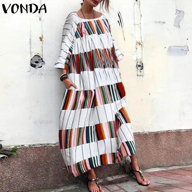 VONDA Women Dress 2019 Autumn Casual Plaid Print Maxi Long Dresses Fashion Patchwork O Neck Vestidos Pockets Plus Size