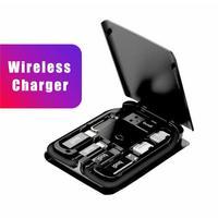 Adaptador inteligente Universal multifunción, caja de almacenamiento para tarjetas, carga inalámbrica