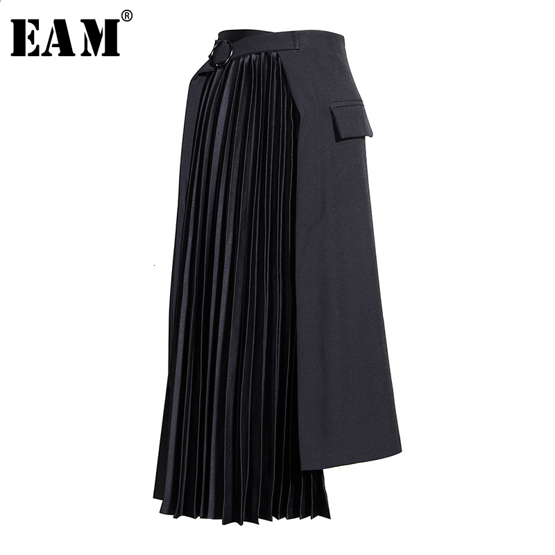 [EAM] HighWaist Black Asymmetrical Pleated Temperament Half-body Skirt Women Fashion Tide New Spring Autumn 2020 19A-a779