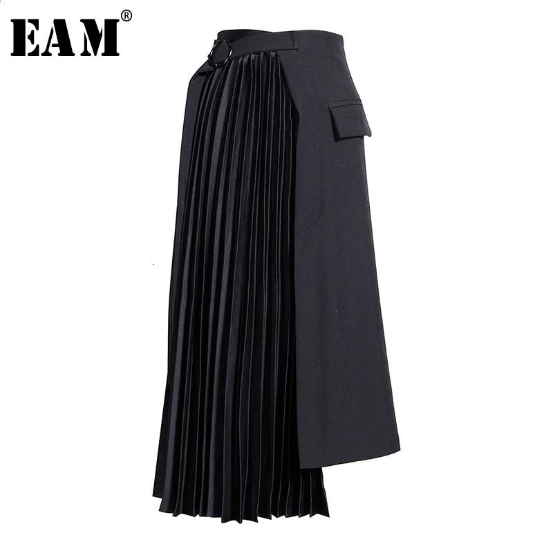 [EAM] HighWaist Black Asymmetrical Pleated Temperament Half-body Skirt Women Fashion Tide New Spring Autumn 2020 19A-a779