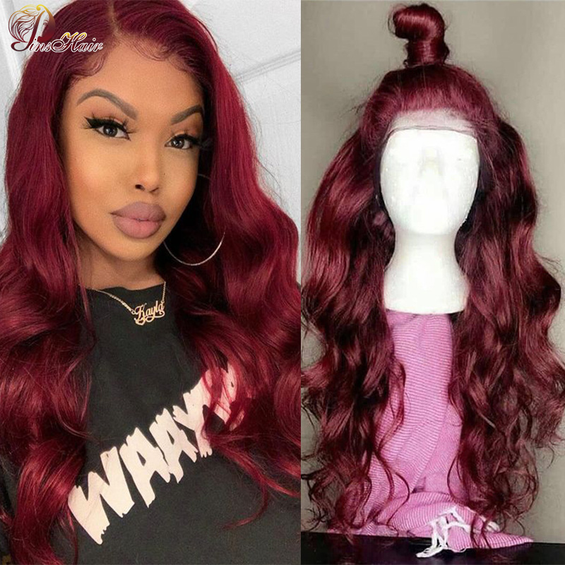Burgundy 13X4 Lace Front Human Hair Wigs Preplucked Hairline Red 99J Lace Wig Brazilian Body Wave Lace Frontal Wig Remy Pinshair