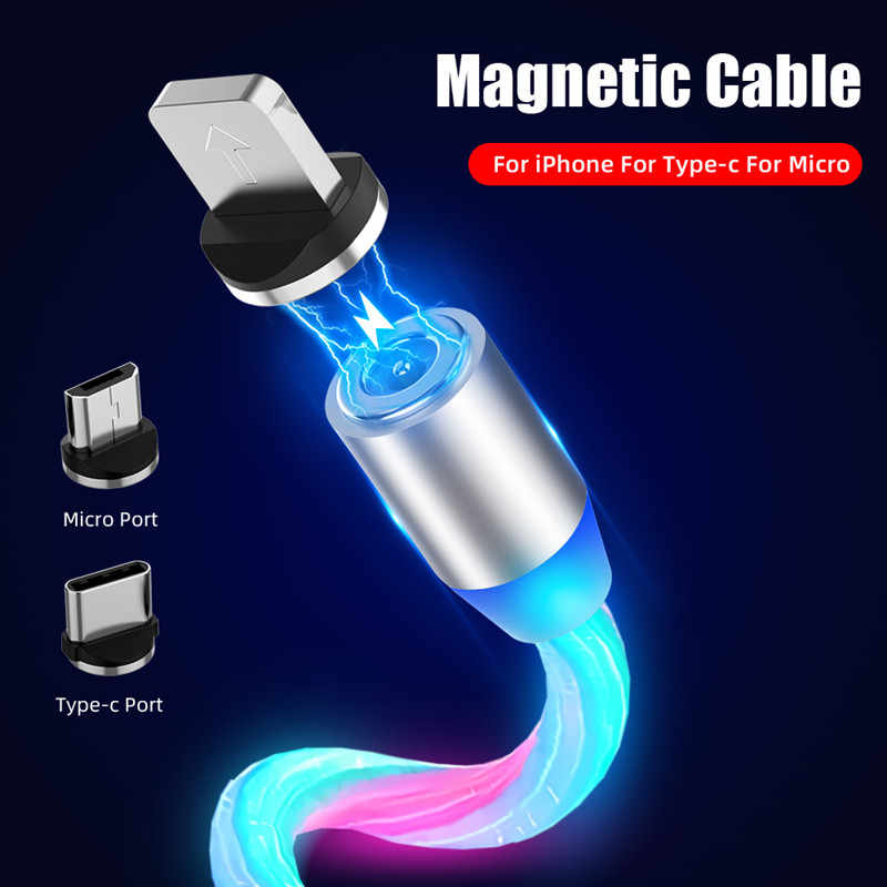 1M 2M Magnetic Cable Micro USB Type C Flowing Light LED Fast Charging Cord For Samsung iPhone Mobile Phone Magnet Charger Cables