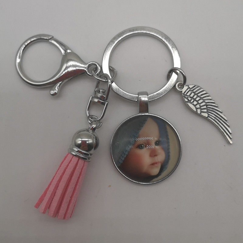 Personalized photo pendant custom keychain your baby photo children mom dad grandparents like a family gift