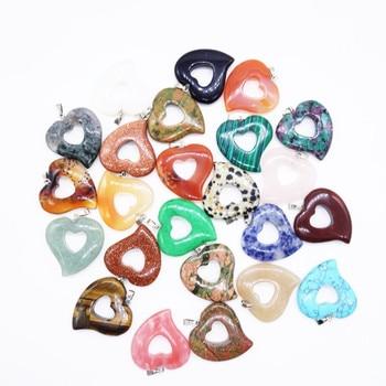 Estilo romántico 10 Uds bonito Chapado en plata corazón malaquita piedra colgante para regalo de aniversario cereza cuarzo joyería