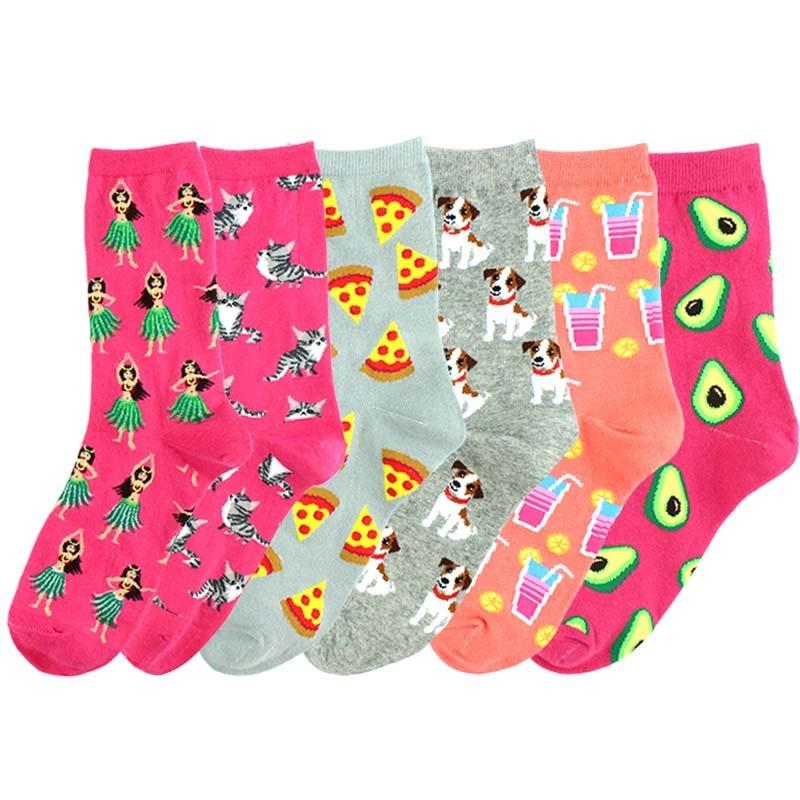 Harajuku meias de algodão para mulheres, nova moda criativa de algodão para comida, abacate, bebidas, desenho animado, animal
