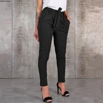 Na co dzień szczupła szyfonowa cienkie spodnie dla kobiet wysokiej talii czarny Khaki zielone spodnie tanie i dobre opinie AOWOFS Pełnej długości Poliester Sznurek Mieszkanie Ołówek spodnie DF-1541 LL Wysoka WOMEN REGULAR Kieszenie Skrzydeł