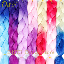 DIFEI 24inch Synthetic Jumbo Braids Hair 100g/Pack Pink Blue Long Braiding Extensions Crochet