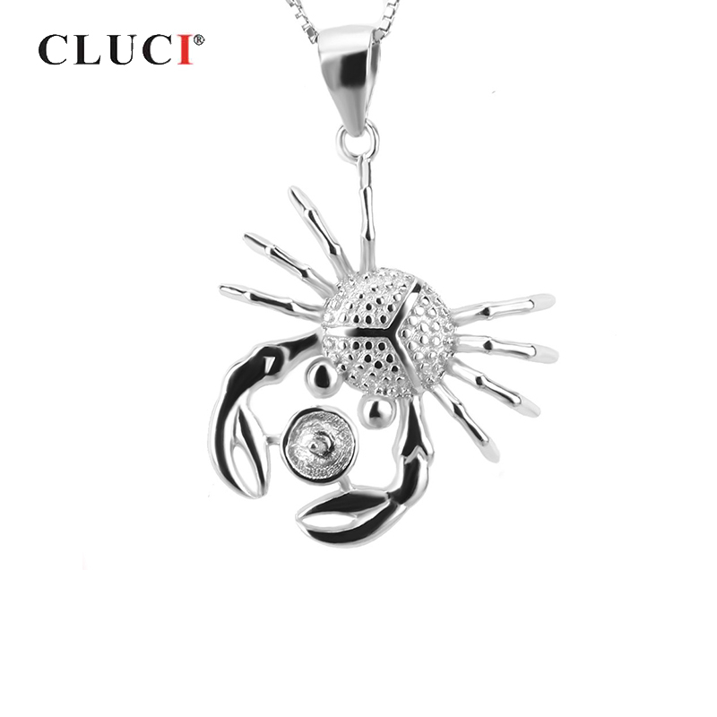 CLUCI 925 Sterling Silver Crab Shaped Pendant For Women Necklace Jewelry Silver 925 Pearl Pendant Mounting Charm Pendant SP017SB