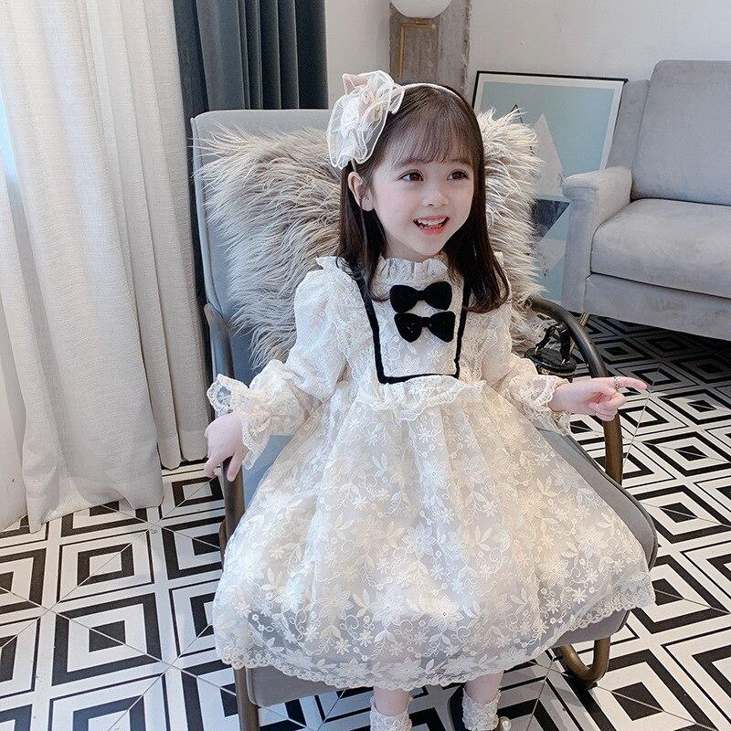 Laço desempenho vestido para meninas arco flor formal festa de casamento vestido da menina crianças vestidos de aniversário para meninas 2 3 4 5 6 7 8 9 ano