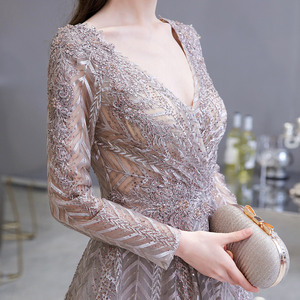 Image 5 - Dubai Luxury Long Sleeve Evening Dress 2020 Gorgeous V Neck Lace Pleated Beaded Crystal Sexy Formal Gown