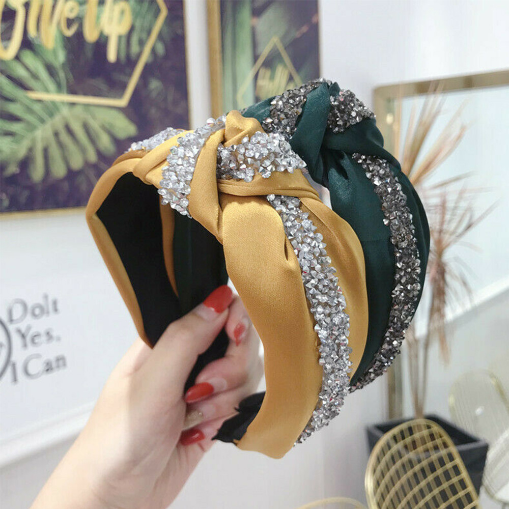 5 Colors Women's Tie Headband Silk Shiny Knot Headbands Crystal Knot Hair Band Women Patchwork Hoop Accessories Headpiece