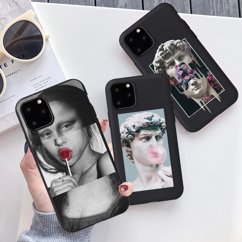Fashion Soft TPU Mona Lisa David Statue Abstract Art Painted <font><b>Phone</b></font> <font><b>Case</b></font> For <font><b>iPhone</b></font> 6s <font><b>5SE</b></font> 7 8Plus X XR XS 11 Pro Max Shell Coque image