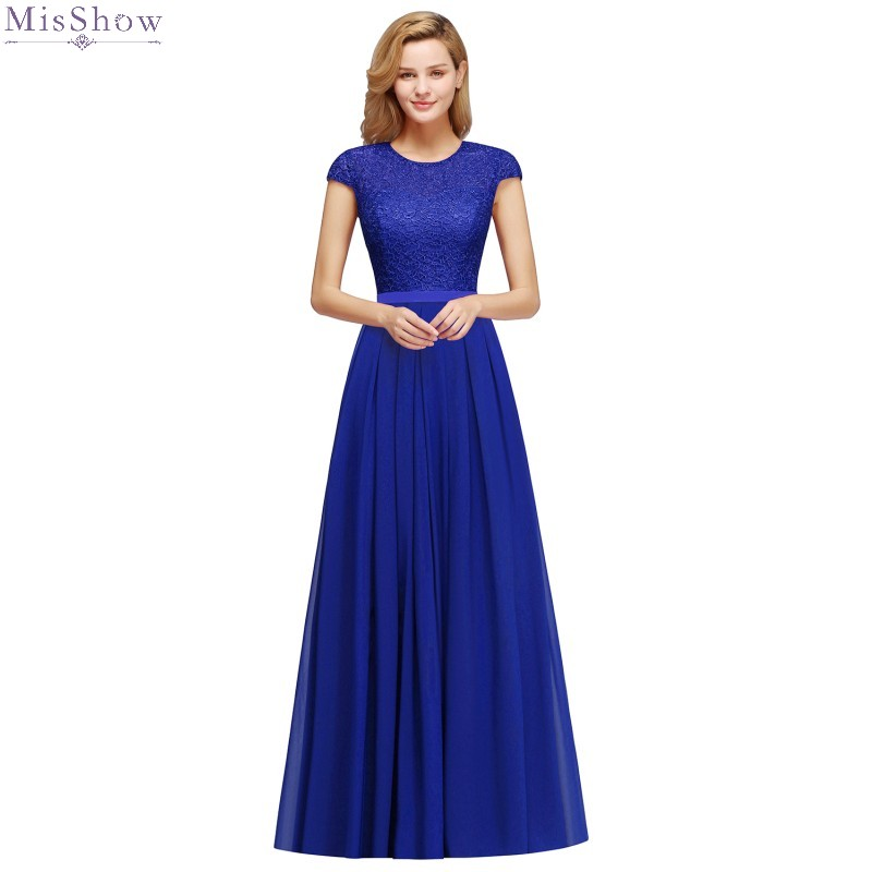Long Royal Blue Chiffon Evening Dress 2020 A Line Sleeveless Pink Formal Gown Lace Applique Scoop Neck Robe De Soiree 2019