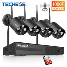 Techege, беспроводная система видеонаблюдения, 1080 P, аудио запись, 2 МП, 4 канала, NVR, водонепроницаемый, для улицы, wifi, CCTV камера, система, видео наблюдение, комплект