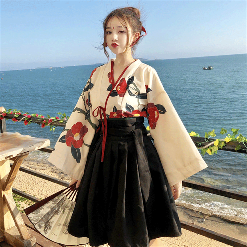 Japanese Style Woman Kimono Summer Fashion Floral Haori Girls 2pcs Top And Skirt Outfits Full Sleeve Japanese Dress For Women