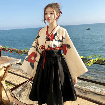 Japanese Style Woman Kimono Summer Fashion Floral Haori Girls 2pcs Top and Skirt Outfits Full Sleeve Japanese Dress for Women - DISCOUNT ITEM  39% OFF All Category
