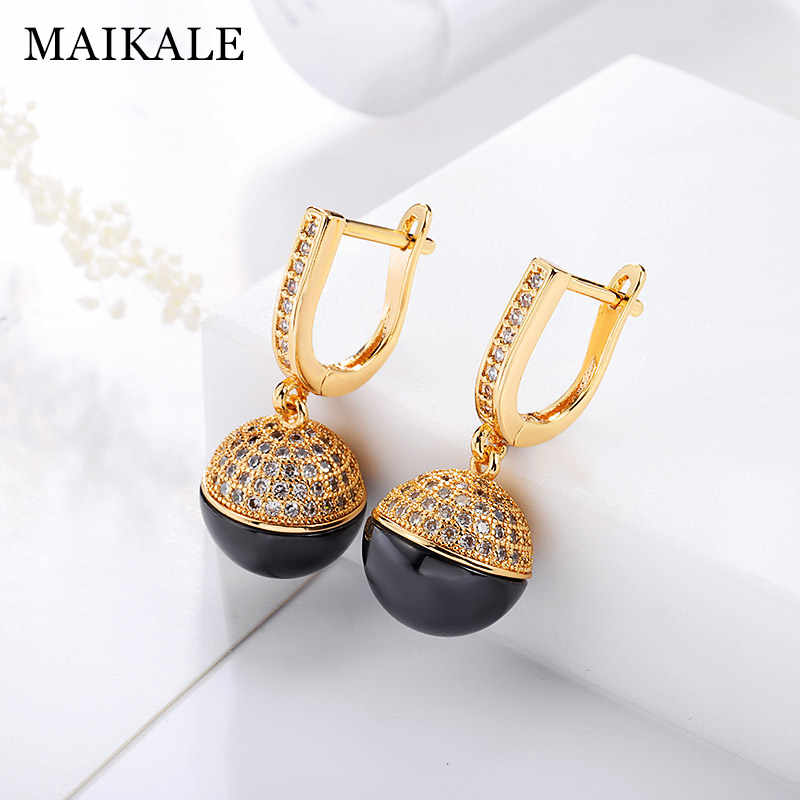 MAIKALE Classic Ball Ceramic Drop Earrings Copper Plated Gold Silver Korean Earrings For Women Fashion Jewelry For Women Gifts