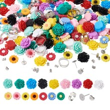 1 Set Flower Resin Cabochons With Ear Nuts Earring Stud Iron Pad Ring Base for DIY Jewelry Making Accessories Decor