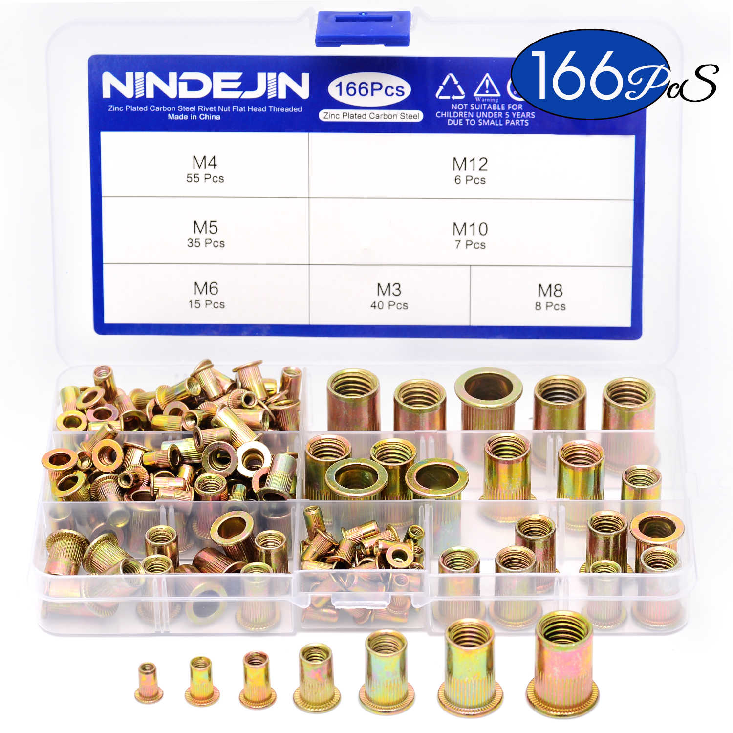 NINDEJIN 166pcs/set Mixed Carbon Steel Rivet Nut M3 M4 M5 M6 M8 M10 M12 Nut Zinc Plated Flat Head Threaded Insert Nut Kit