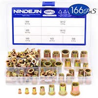 NINDEJIN 166 pièces/ensemble écrou à rivets en acier au carbone mixte M3 M4 M5 M6 M8 M10 M12 écrou à tête plate zingué