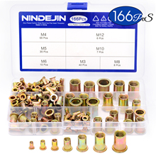 Nindjin 166 шт./компл. заклепки из смешанной углеродистой стали, зеркальная гайка, оцинкованная плоская головка, комплект резьбовых вставок