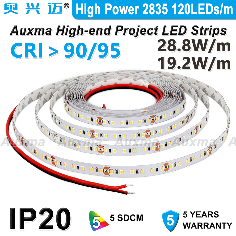 High Power 2835 120LEDs m LED StripCRI95 CRI90IP20 DC12V 24V28 8W m 19 2W m 600LEDs ReelNon-waterproofRed Green Blue Amber