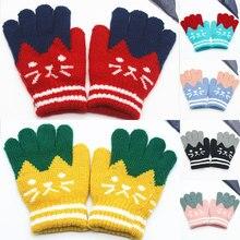 1 пара, теплые детские волшебные перчатки с рисунком кота для девочек, варежки, эластичные вязаные зимние перчатки для мальчиков и девочек, новинка