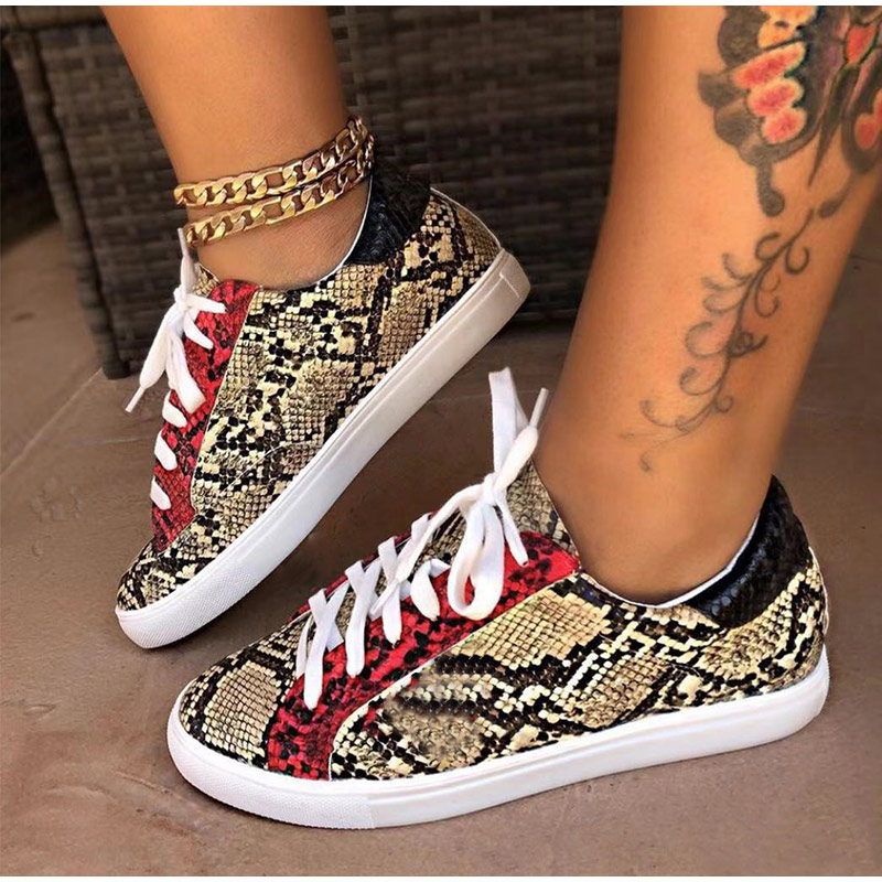 Spring Women Sneakers Lace up Female PU Glitter Flats Vulcanized Shoes Fashion Snake Platform Shoes Woman Walking Footwear