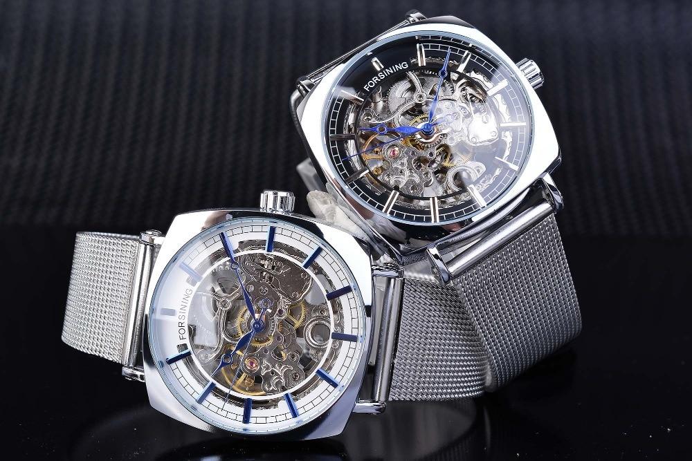 Forsining marca mens relógios mecânicos quadrado retro