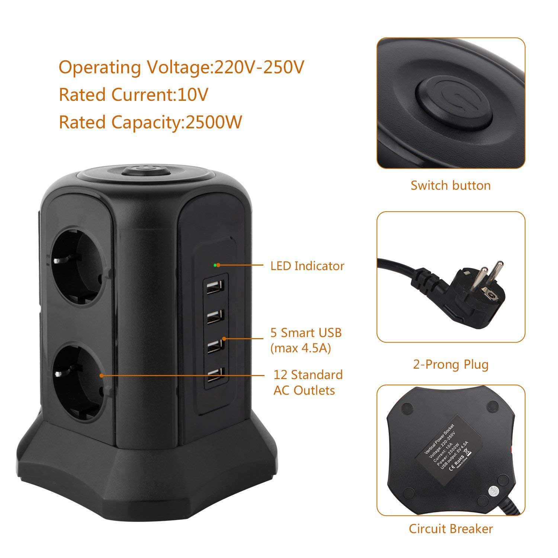 Smart Tower listwa zasilająca wielu gniazda 6-Gang 4 USB Socet z USB dystrybucji zasilania 2m przedłużacz zabezpieczenie przeciwprzepięciowe
